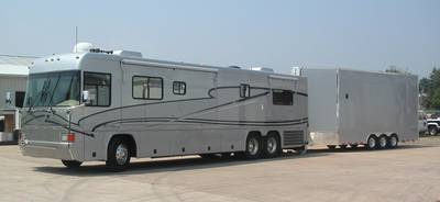 2002 Country Coach Allure 40 With 2006 ATC Stacker Trailer